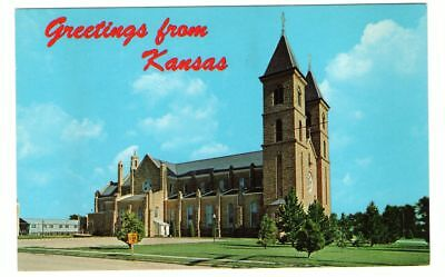 Undated Unused Postcard Greetings from Kansas St Fidelis Church Victoria KS