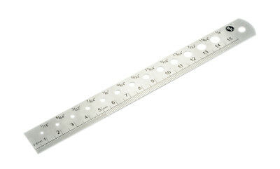 "6"" (155mm) Steel Machinist Ruler In SAE & Metric with Drill Gauge 1/16""-1/4"""