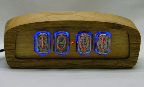 Wooden nixie clock - in12 tube, blue backlight