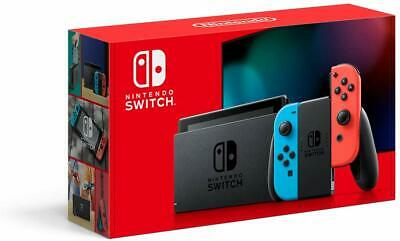 NEW Nintendo Switch with Neon Blue and Neon Red Joy‑Con Handheld Gaming Console