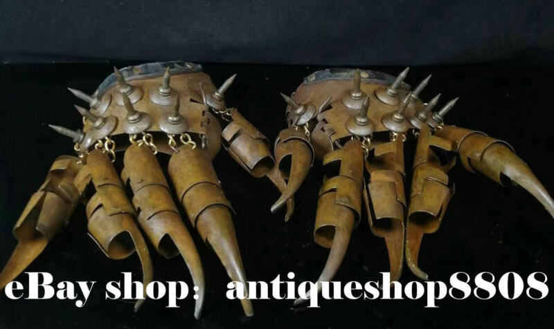 The ancient Chinese bronze sharp talons claws protection protective gloves