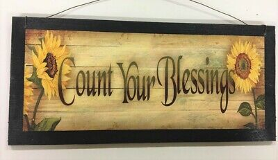 Kitchen Sign Decor (sunflowers count your blessings country kitchen wooden wall decor sign fall)