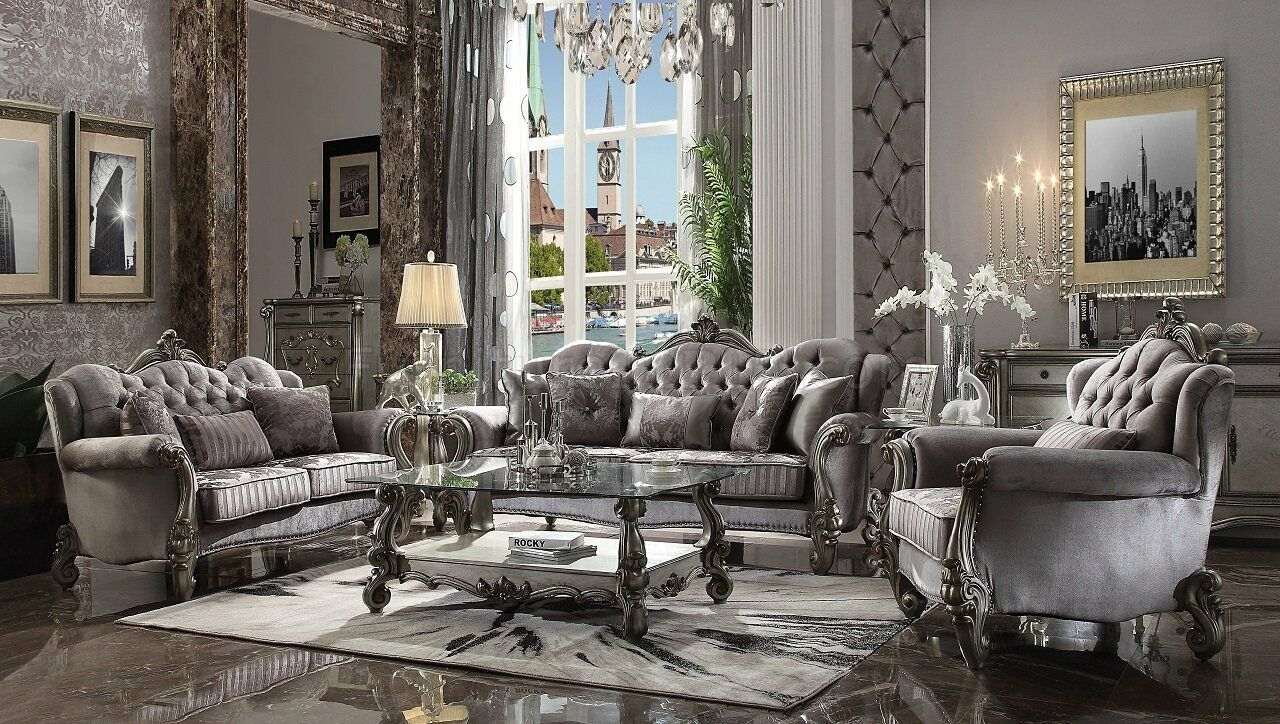 Acme Furniture Versailles Silver Velvet Sofa and Loveseat