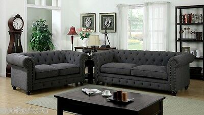 Traditional Look Formal Rolled Arm Gray Leatherette Fabric 2 Pc Sofa Love Seat