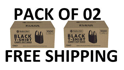 Members Mark Black T-shirt Carryout Bags 1000 Ct. Pack Of 02 Free Shipping