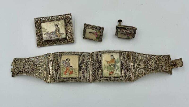 Chinese Export Silver Bracelet Brooch Earrings Art Deco Antique Filigree Japan