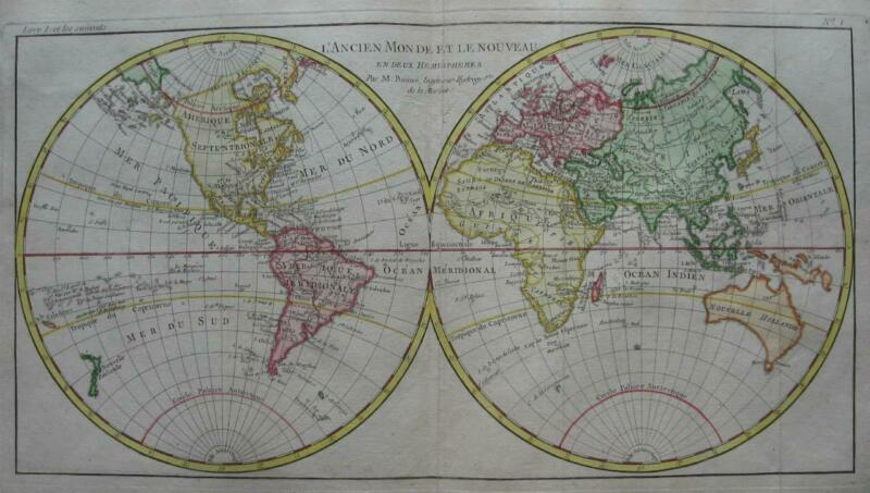 1780 - BONNE - Double hemisphere WORLD MAP