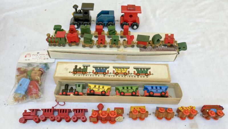 5 Vintage Wood Train Sets Merry Christmas & German w/ Boxes + Ornament