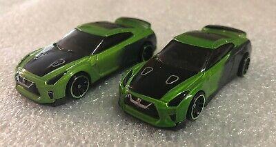 Hot Wheels 2019  '17 Nissan GT-R (R-35) Guaczilla Green Loose Set Of 2