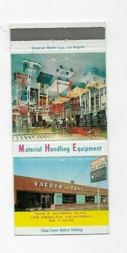 Matchbook Cover Yaeger & Sons Material Handling Equipment Los Angeles CA 8045