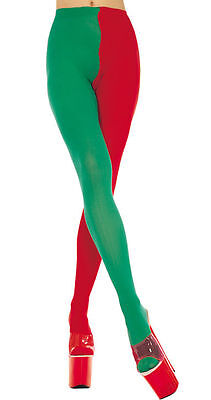 Red + Green Jester / Elf Tights Sexy Christmas Style Fancy Dress Lingerie P748 ()