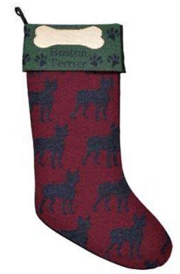 Boston Terrier Dog Tapestry Christmas Stocking for Dog ()