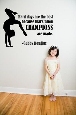 Gabby Douglas Gymnastic Quote   Champions Vinyl Wall Decal   Sticker 16 X12