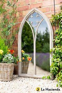 La Hacienda Church Window Grey Stone Effect Metal Outdoor Garden Mirror Feature