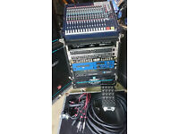 Complete 2700Watt PA set up Peavey and Soundcraft for venue, band, DJ