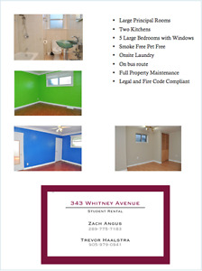 AVAILABLE NOW! Close to Mcmaster -flexible lease terms