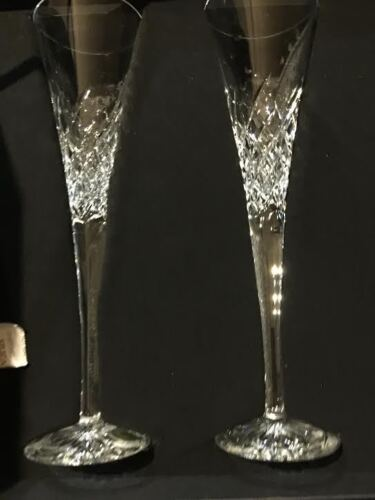 Sparkling Waterford Crystal PAIR WISHES HAPPY CELEBRATIONS TALL FLUTES NEW