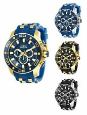 Invicta Men's Pro Diver Quartz Chrono 100m S. Steel Blue Silicone Watch