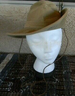HENSCHEL HatQuarters USA AUSSIE WALKER TAN CANVAS SIDE SNAP OUTBACK HAT Small