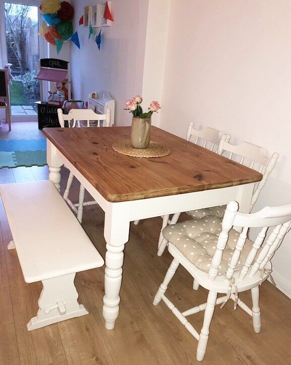 Beautiful Rusticshabby Chic Table Chairs Bench Set In Weston Super