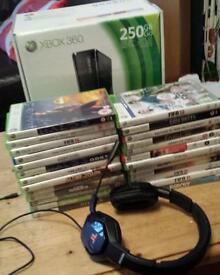 Xbox 360 slim +25 games +2 controllers +Triton headset