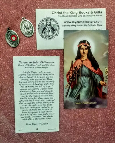 ST PHILOMENA POWERFUL WITH GOD RELIC MEDAL & LAMINATED PRAYER CARD GIFT SET