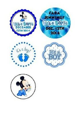 108 Disney Baby Boy Mickey Mouse Shower Hershey Kiss Labels Stickers Personalize](Baby Boy Shower Candy)