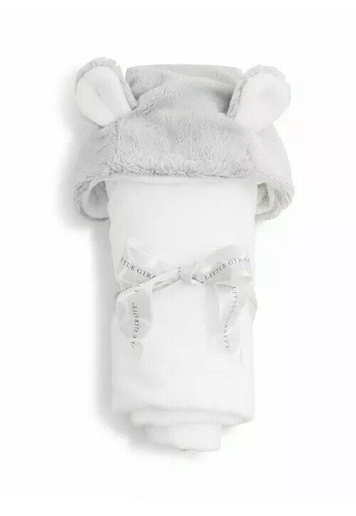Little Giraffe Luxe Silver Infant Hooded Towel with Ears New W/ Tags in Package
