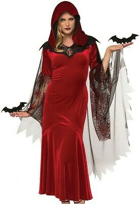 Bat Mistress Costume Red Scarlet Hooded Spooky Dress Goth Witch Medieval - Spooky Vampir Kostüm