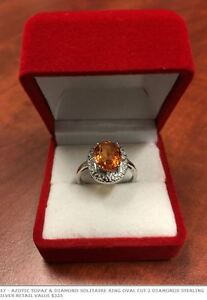Azotic Topaz and Diamond Solitaire Ring