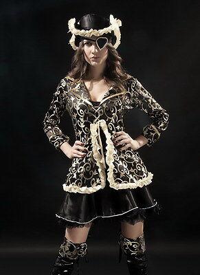 Deluxe Ladies Black & Gold Pirate Fancy Dress Costume