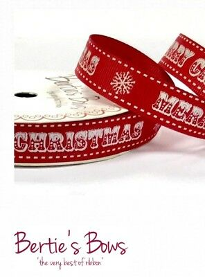 BERTIES BOWS MERRY CHRISTMAS 16mm WESTERN STYLE FONT SNOWFLAKE Grosgrain Ribbon ()