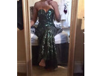 Dark green sequin prom dress