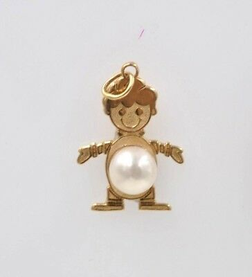 New 14 kt yellow gold Birthstone Boy Kids Child Charm Pendant with pearl Birthstone Bead Boy Pendant