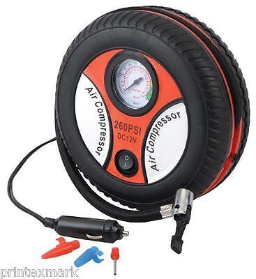 Air Compressor Portable Pump 260 PSI Auto Car SUV Tire,12 Volt + 3 Extra Adapter