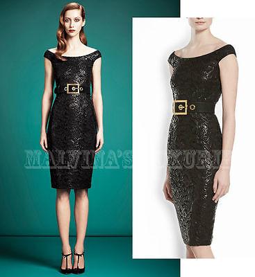 $2,900 GUCCI DRESS BLACK LACQUERED LACE OFF SHOULDER NECKLINE sz IT 42 / US 6