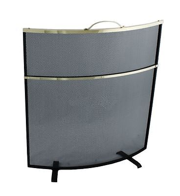 Polished Brass And Black Curved Fire Screen With Carry Handle