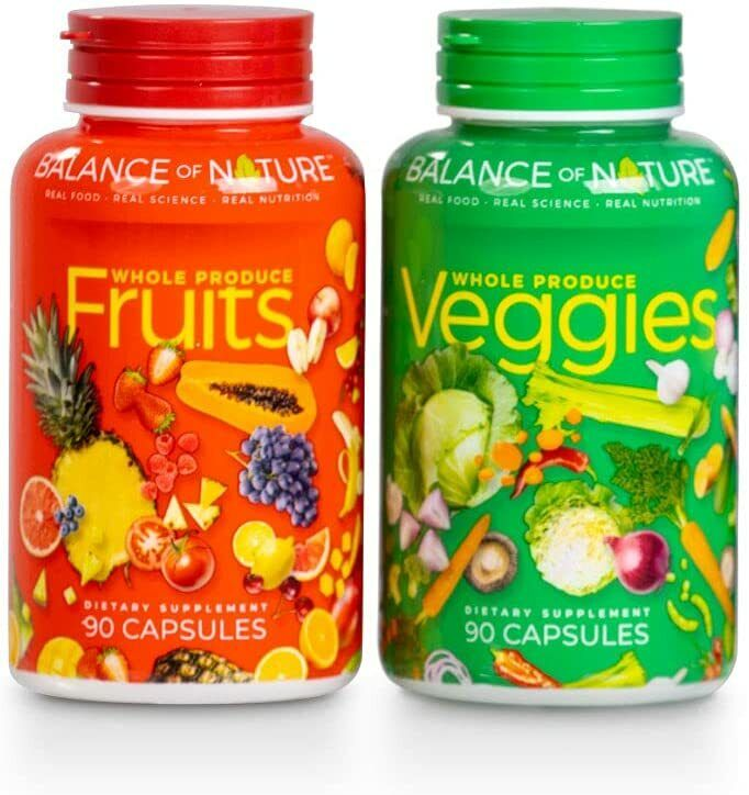 Balance of Nature 1 Fruits And 1 Veggies Supplements Energy Natural 180 Capsules
