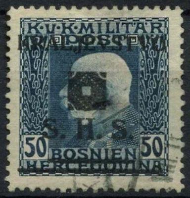 Yugoslavia Bosnia & Herzegovina 1919 SG#37, 50h Prussian Blue Used #A91683