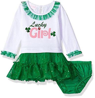 St Patricks Day Tutu (NWT Bonnie Baby St Patricks Day Lucky Girl Long Sleeve Tutu Dress 3 9 12 18 24)