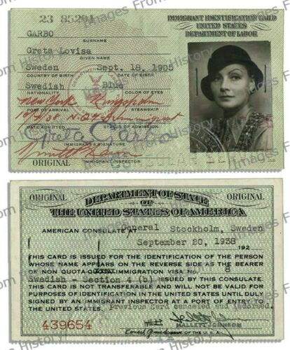8x10 Print Greta Garbo Immigrant Identification Card 1938 #NJMNa