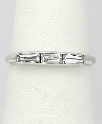 PLATINUM 1/3ct VS BAGUETTE DIAMOND THREE STONE WEDDING BAND RING 2.8mm