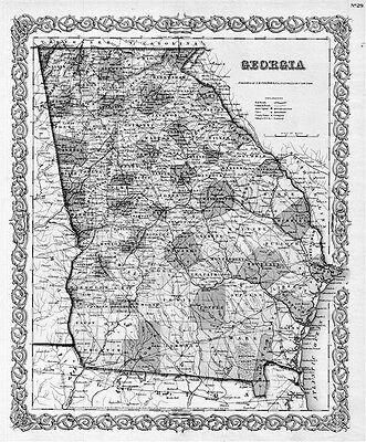 1855 Ga Map Barretts Belvedere Park Big Creek Bill Arp Boynton Ridge Brunswick