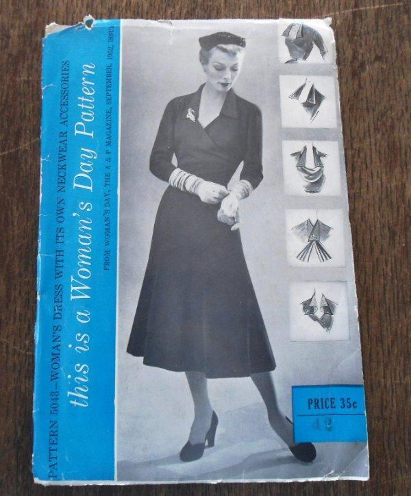 UC Vintage Early 50s Womans Day Sewing Pattern Dress Neckwear Accessories 42