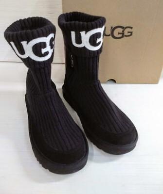 UGG Women's Classic Knit Fashion Boot, Black, 7 M US