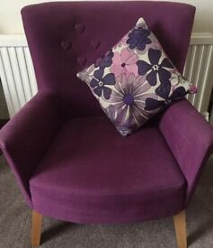 💖BEAUTIFUL BARKER AND STONEHOUSE DESIGNER PURPLE LOVE HEART CHAIR CHILDS/ADULT