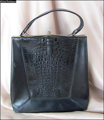 1940s VINTAGE LADIES FASHION BLACK LEATHER PURSE