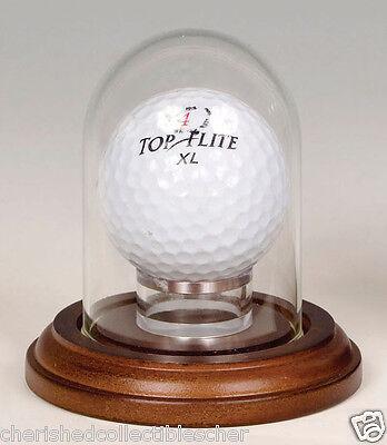 Mini Glass Dome Walnut Base with Golf Ball Holder 1 7/8 X 2 3/4