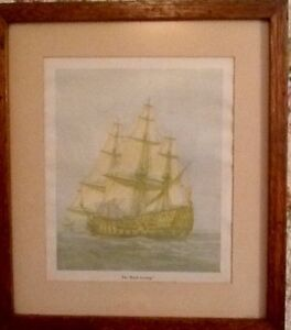 Vintage Framed Print of the HMS Sovereign