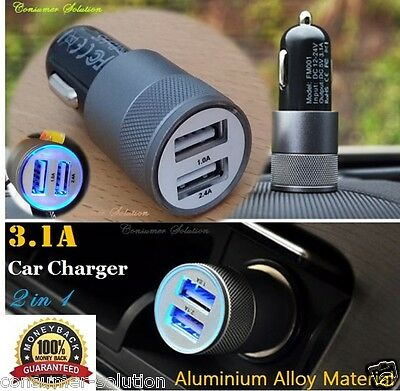 3.1A Dual USB Car Charger Alloy 2 Port Universal Fast Charging For Ipone 4